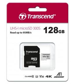 Карта памяти Transcend microSDXC 128Gb 300S UHS-I U3 V30 A1 TS128GUSD300S-A (95/45 Mb/s)с адаптером