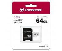 Карта памяти Transcend microSDXC 64Gb 300S UHS-I U3 V30 A1 TS64GUSD300S-A (95/45 Mb/s)с адаптером