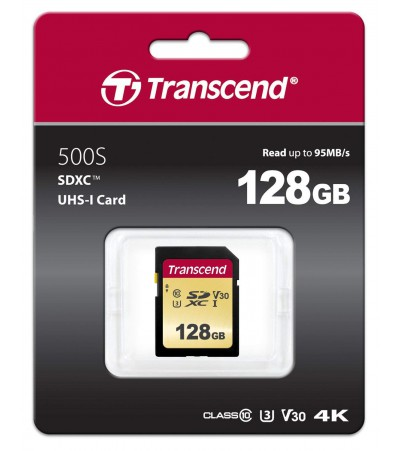 Карта памяти Transcend SDXC 128GB Class10 UHS-I U3 V30 SDC500S (MLC)